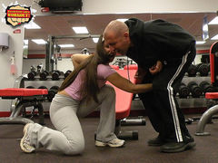 Japanese reality show balls slapping Ballbusting Girl Busting Nuts in the Gym