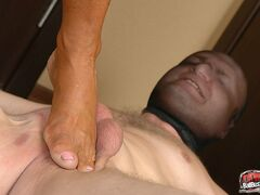 DomBallBusting Tanned mommy squeezes young sub's shaven balls in her rough hand tightly