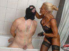 DomBallBusting Skillful ripe domina tortures her slave's sack till it gets dark and shiny