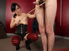 Ball kicking and busting tube videos Femdom Elise Grave has her slave in bondage with his hands above his head. She has a special surprise for him. She found some really small vise grips at the hardware store and decided they would be great for his ball sack.
